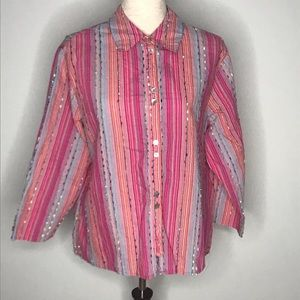 Coldwater Creek button down pink striped top